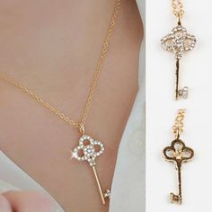 Long Strip Key Crystal Pendants Necklaces Jewelry collier femme Hot Fashion Gold Plated Chain Necklace Pendants Free Shipping