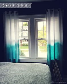 DIY: Ombre Curtains but use white sheets instead. I'm glad I know how to sew.
