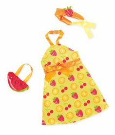 Manhattan Toy Groovy Girls Fruity Fashionista by Manhattan Toy. $12.99. Set includes dress, headband and purse. Part of the Groovy Girl Collection by Manhattan Toy Company. Inspires fun, creative play in your young child. From the Manufacturer Dress your Groovy Girls in this deliciously sweet outfit. Turn her into a fruity fashionista with this fruit patterned halter-top dress. The outfit also includes a headband accented with a luscious strawberry, and a ju...