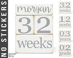Baby Age Blocks  NO STICKERS  20 Color Scheme Options Example Grey  Baby Milestone Blocks ** Be sure to check out this awesome product.
