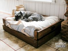 Inspirational Ideas For Diy Dog Bed Large Wood Wood Dog Bed, Pallet Dog Beds, Diy Dog Bed, Dog Furniture, Furniture Stores, Box Bed, Bed Plans, Diy Stuffed Animals, Pet Beds