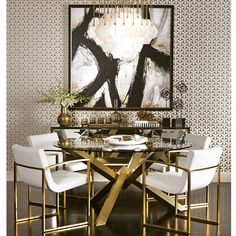 Looking for modern dining room ideas with furniture and decor? Explore our beautiful dining room ideas for interior design inspiration. Dining Room Design, Dining Area, Dining Chairs, Gold Dining Rooms, Mirror Dining Table, Round Dining, Decoration Inspiration, Dining Room Inspiration, Furniture Inspiration