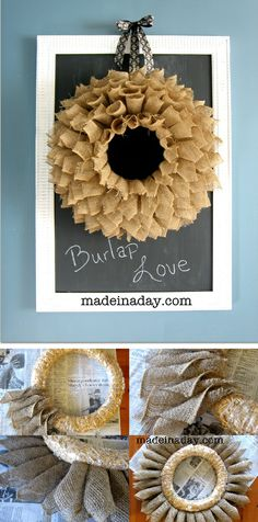 "Burlap Wreath ~ The blogger said ""... I used 3 (rolls of) 5 1/2 inch wide Burlap Ribbon ribbon from the floral section in Micheals, hot glue, 14 inch straw wreath, rotary cutter with mat and decorative ribbon."" the full tutorial is at madeinaday blog"