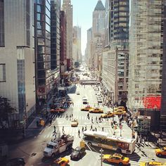 8th Ave, looking downtown from Columbus Circle (59th Street) -  Photo by uptowneastnyc