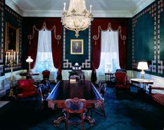View of the Treaty Room in the Kennedy White House, Washington, D.C. A portrait of former president, Andrew Johnson, hangs on the wall, May 7, 1962.