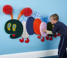 Very Tactile Caterpillar - Small We can't afford this one but I think in the crawling area we could recreate one using our own fabric attached to cut foam board. Diy Sensory Board, Sensory Wall, Sensory Rooms, Baby Sensory, Sensory Bins, Sensory Activities, Infant Activities, Sensory Bottles, Sensory Garden