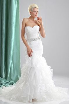 Fairy-tale Trumpet-Mermaid Sweetheart Organza Wedding Dress CWLT130E6
