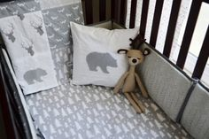 Woodland Baby Crib Bedding Set Customizable by SleepingLakeDesigns. So cute for a woodland or forest nursery with trees, bears, stag antlers, and fox. Love the gray and white.
