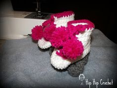 Roller Skate Baby Booties   Size 6 - 12 Months    Printable PDF of this pattern can be downloaded here .   Materials you will need:...