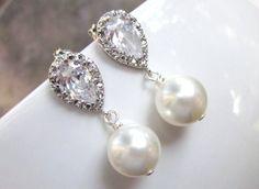 Rhinestone pearl earrings, wedding bridal jewelry, cubic zirconia crystal drops - Persephone