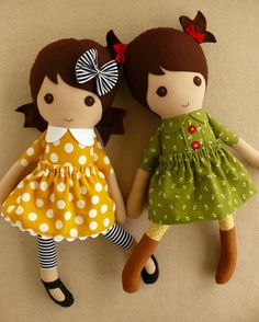 Reserved for Zelda  Fabric Dolls Rag Doll Twin by rovingovine
