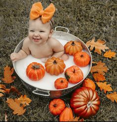 Milk Bath Photos, Bath Pictures, Halloween Baby Pictures, Baby Halloween, Milk Bath Photography, Baby Girl Photography, Fall Baby Pictures, Baby Pumpkin Pictures, Fall Baby Pics