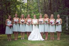 gorgeous mint green bridesmaids dresses by Donna Morgan + pretty pink florals | CHECK OUT MORE IDEAS AT WEDDINGPINS.NET | #weddings #bridesmaids #bridal #dresses #fashion #forweddings