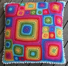Rainbow crochet pillow- Emily would love this!