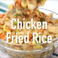 My chicken fried rice is so simple to make and way better than take-out! Skip the take-out and make this easy chicken fried rice at home. It's a simple weeknight dinner that's so budget friendly, and it's a real crowd-pleaser! Asian Recipes, New Recipes, Dinner Recipes, Healthy Recipes, Simple Recipes, Dinner Ideas, Family Recipes, Meal Ideas, Family Meals