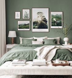 Gallery Wall Inspiration - Shop your Gallery Wall - Posterstore. Green Bedroom Walls, Sage Green Bedroom, Green Rooms, Room Ideas Bedroom, Home Decor Bedroom, Master Bedroom, Green Bedroom Colors, Green Bedroom Decor, Gallery Wall Bedroom