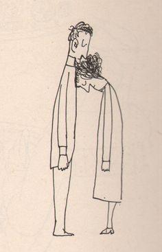 "Saul Steinberg, ""Kiss"", 1959. Veja também: http://semioticas1.blogspot.com.br/2011/10/humor-romeno.html"