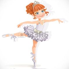 baby ballet illustration: Beautiful little ballerina girl in white dress isolated on a white background