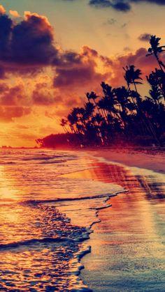Nature Fire Sunset Beach iPhone 6 wallpaper
