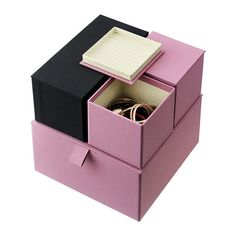PALLRA Box with lid, set of 4 - light pink - IKEA $14.99