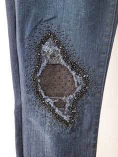 jeans, denim repair with beads