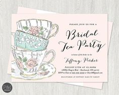 Bridal Shower Tea Party Invitation Tea Time Bridal Shower