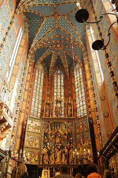 Altar of St Mary's Basilica, 13th-14th century, Krakow, Poland, with triptych carved between 1477 and 1489 by the Bavarian sculptor Veit Stoss.  In 1941, during German occupation, the dismantled Altar was stolen and shipped to the Third Reich on the order of the Governor-General of that part of occupied Poland. It was recovered in 1946 in Bavaria, hidden in the basement of the heavily bombed Nuremberg Castle. It was restored in Poland and was put back in its place 10 years later.