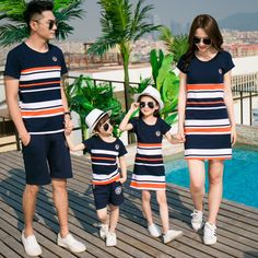 Family Set 2017 Father and Son Clothes Fashion Mother Daughter Dress Family Clothing Stripe Sports Suit Family Matching Outfits Baby Outfits, Mom And Son Outfits, Mother Daughter Matching Outfits, Mother Daughter Fashion, Couple Outfits, Matching Family Outfits, Kids Outfits, Matching Clothes, Mother Daughters