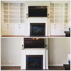 Before and after of built in shelving by Woods Cabinets LLC. Built in shelving are stylish additions to any room, that are also great space savers. Custom Shelving, Shelving Units, Entertainment Centers, Wood Cabinets, Built Ins, Bookshelves, Woods, Kitchen Appliances, The Unit