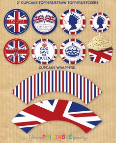 PRINTABLE: British Union Jack cupcake wrappers & picks.  Print them out, then add Zombie Beatles and you will have it all. The ZomBeatles -- A Hard Day's Night of the Living Dead -- or the Walking Dead Halloween Party Decorations & Ideas