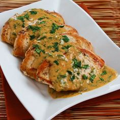 Chicken Breasts with Cilantro and Red Thai Curry Peanut Sauce; this is one of my all-time favorite recipes. If the cilantro is an issue for you, I'd use thinly sliced green onions. [from KalynsKitchen.com] #DeliciouslyHealthyLowCarb