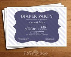 Diaper Party Invitation Baby Shower Invitation by LittleRoseStudio, $10.00
