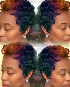 @damasterstylist great display of #colors...very pretty!!! You got this poppin'... These vivid colors are def available in the #kissexpresscolor line. #forestgreen #realpuprle #cherrycola #midnightblue #nutmeg #shortcuts #dopehair #cutlife #haircolor #hairwithflair #curlydo #curlyhair #beauty #instabeauty