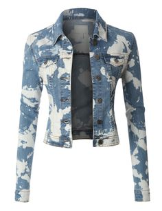 LE3NO Womens Bleach Long Sleeve Denim Jacket  with Pockets