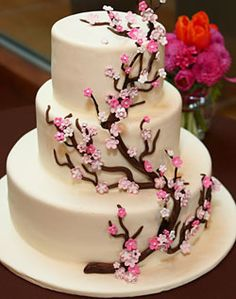 Wedding Cake with Cherry Blossom Accent | Flickr - Photo Sharing!