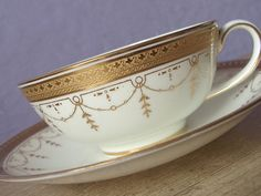 Antique English China tea cup and saucer set, Cauldon tea cup, Gold tea cup…