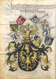 «Das Wappenbuch Conrads von Grünenberg, Ritters und Bürgers zu Constanz», Konrad Grünenberg , [S.l.], um 1480 [BSB Ms Hss Cgm 145 - urn:nbn:de:bvb:12-bsb00035320-0] -- Bildnr.7 Großes Wappen mit dreiköpfigern Adler