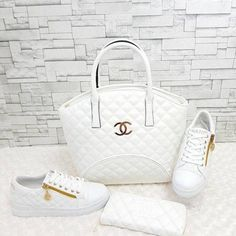 Chanel                                 All White                            Purse•Wallet•Sneakers