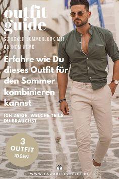 Casual Chic Männeroutfit mit Chinohose, grünem Freizeithemd und Sneaker. Ich zeige Dir wie Du dieses schicke Herrenoutfit kombinieren kannst. Finde jetzt passende Teile für dieses Sommeroutfit