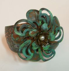 Blue patina cuff, done over rusty black patina finish from bsueboutiques.com