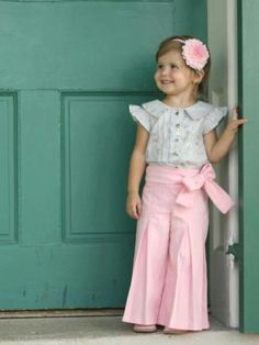 Whitney Pants Sewing Pattern from Violette Field Threads — Sizes 2 – 10 — The … - Moda Infantil Little Girl Outfits, Little Girl Fashion, My Little Girl, My Baby Girl, Little Princess, Kids Outfits, Toddler Outfits, Fashion Kids, Fashion Clothes
