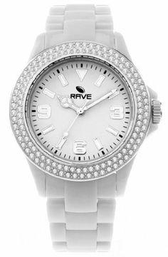 Ladies White Crystal Plastic Watch Rave RV1023