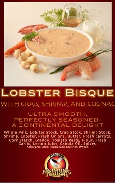 Lobster Bisque (with Crab, Shrimp and Cognac)- Our Lobster Bisque is truly a taste sensation. Ultra smooth, perfectly seasoned - a Continental delight! #fortunfoods #soup #food #lobster #bisque #lobsterbisque #crab #shrimp #cognac #dinner #cooking #delicious #comfortfood