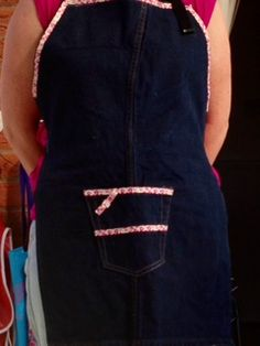 Apron made from re-purposed denim