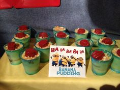 Perfect desert instead of cake! Despicable me party - ba ba ba banana pudding!