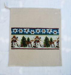 Snowman Applique Drawstring Bag Red by LookingGlassDesigns1, £6.00