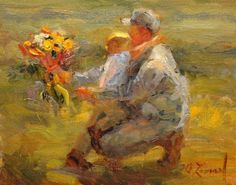 Daddy's Home by Contemporary American Impressionist  Diane Leonard