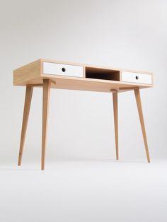 Desk, computer desk, office desk, two white drawers, desk with storage, scandinavian design mid century modern midcentury