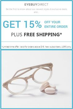 5791689329 EyeBuyDirect Online Glasses Store is offering 15% Off on Your First Order  + Free