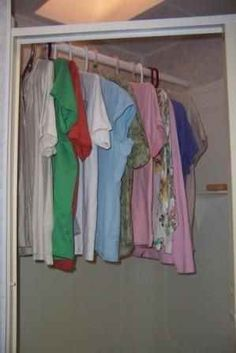 A suspension rod in the shower lets you hang clothes while they're still damp.